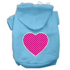 Pink Swiss Dot Heart Screen Print Pet Hoodies Size-Dog Clothing-Bella's PetStor