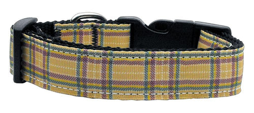 Plaid Nylon Collar Khaki-Dog Collars-Bella's PetStor
