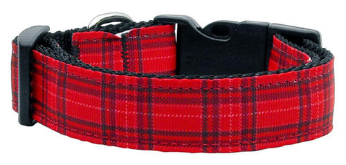 Plaid Nylon Collar Red-Dog Collars-Bella's PetStor