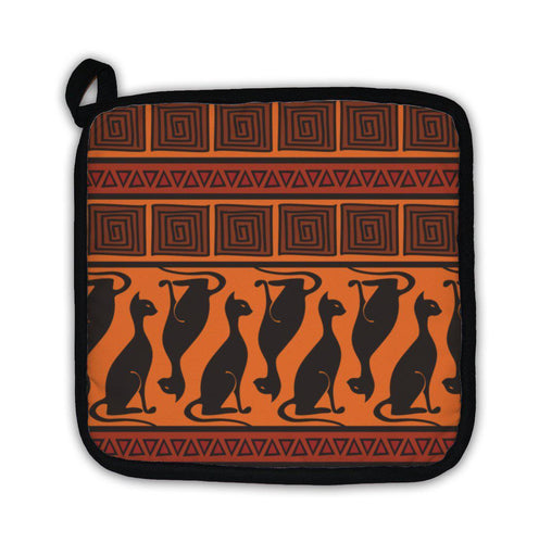 Potholder, African Ornament Pattern With Cats-Potholder-Bella's PetStor