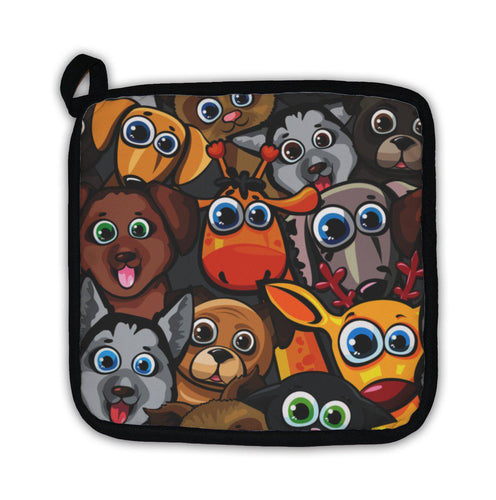 Potholder, Animal Pattern With Dogs Cat Deer And Giraffe-Potholder-Bella's PetStor
