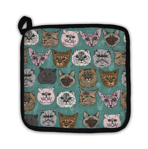 Potholder, Pattern With Cats Siamese British Siberian Persian Scottish Fold Maine Coon-Potholder-Bella's PetStor