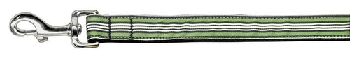 Preppy Stripes Nylon Ribbon Collars Green/white Wide Lsh-Dog Collars-Bella's PetStor