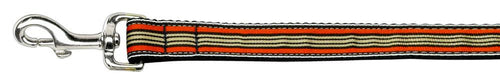 Preppy Stripes Nylon Ribbon Collars Orange/khaki Wide Lsh-Dog Collars-Bella's PetStor