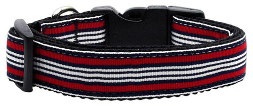 Preppy Stripes Nylon Ribbon Collars Red/white-Dog Collars-Bella's PetStor