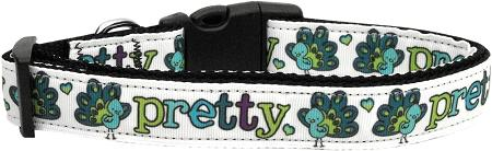 Pretty As A Peacock Nylon Dog Collar Medium Narrow-Dog Collars-Bella's PetStor
