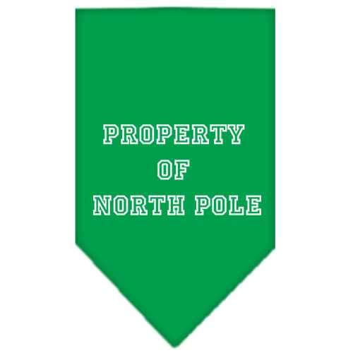 Property of North Pole Screen Print Bandana Emerald Green Small-property of north pole screen print bandana holiday pet products-Bella's PetStor