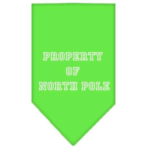 Property of North Pole Screen Print Bandana Lime Green Large-property of north pole screen print bandana holiday pet products-Bella's PetStor