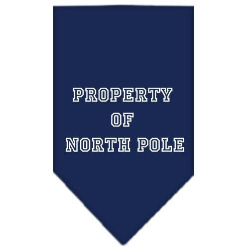 Property of North Pole Screen Print Bandana Navy Blue Small-property of north pole screen print bandana holiday pet products-Bella's PetStor