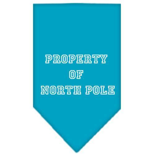 Property of North Pole Screen Print Bandana Turquoise Small-property of north pole screen print bandana holiday pet products-Bella's PetStor