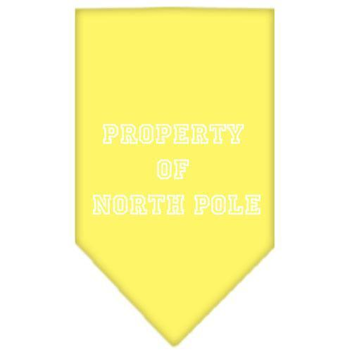 Property of North Pole Screen Print Bandana Yellow Large-property of north pole screen print bandana holiday pet products-Bella's PetStor
