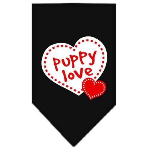 Puppy Love Screen Print Bandana Black Small-puppy love screen print bandana-Bella's PetStor