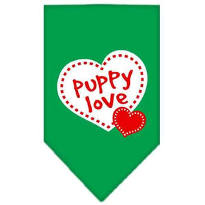 Puppy Love Screen Print Bandana Emerald Green Large-puppy love screen print bandana-Bella's PetStor