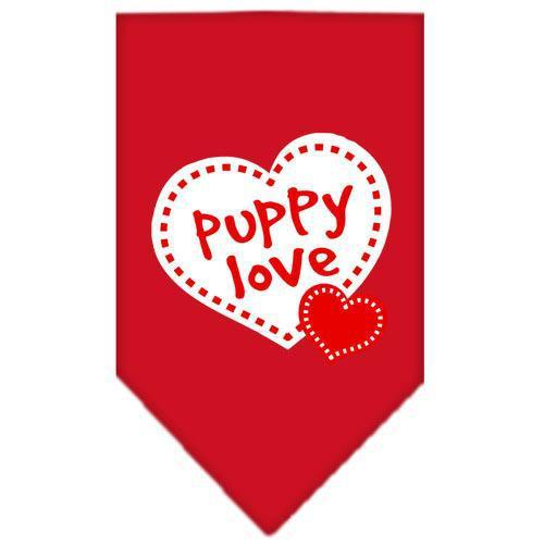 Puppy Love Screen Print Bandana Red Large-puppy love screen print bandana-Bella's PetStor