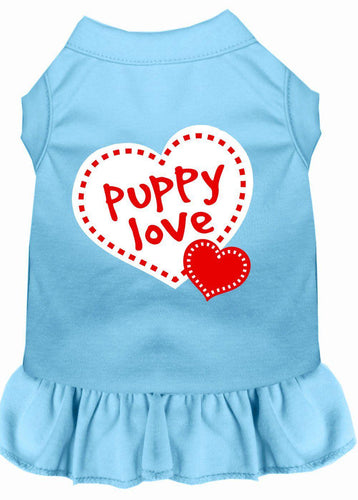 Puppy Love Screen Print Dress Baby Blue-Dog Clothing-Bella's PetStor