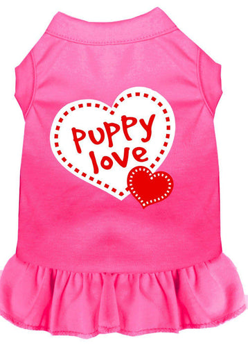Puppy Love Screen Print Dress Bright Pink-Dog Clothing-Bella's PetStor