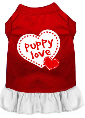 Puppy Love Screen Print Dress Red-Dog Clothing-Bella's PetStor