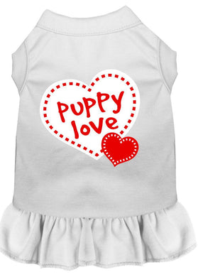 Puppy Love Screen Print Dress White-Dog Clothing-Bella's PetStor