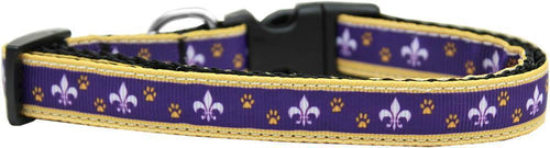 Purple And Yellow Fleur De Lis Nylon Ribbon Dog Collar-Dog Collars-Bella's PetStor