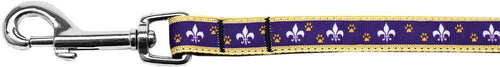 Purple And Yellow Fleur De Lis Nylon Ribbon Pet Leash Inch Wide Lsh-Dog Collars-Bella's PetStor