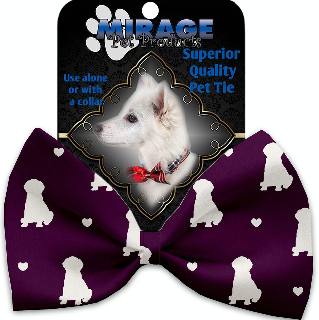 Purple Puppy Love Pet Bow Tie Collar Accessory With Velcro-Bow Ties-Bella's PetStor