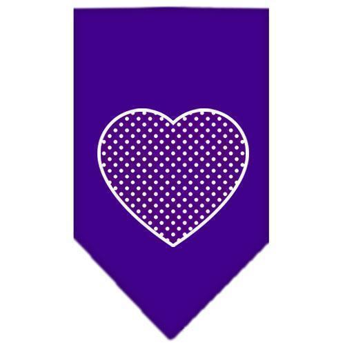 Purple Swiss Dot Heart Screen Print Bandana-Dog Clothing-Bella's PetStor