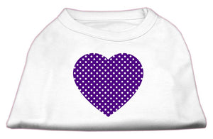 Purple Swiss Dot Heart Screen Print Shirt-Dog Clothing-Bella's PetStor