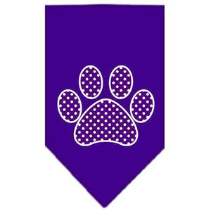 Purple Swiss Dot Paw Screen Print Bandana-Dog Clothing-Bella's PetStor