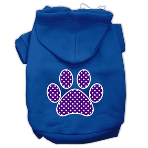 Purple Swiss Dot Paw Screen Print Pet Hoodies Size-Dog Clothing-Bella's PetStor