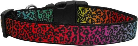 Rainbow Leopard Nylon Dog Collar Medium Narrow-Dog Collars-Bella's PetStor