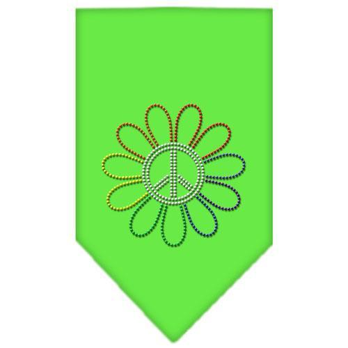 Rainbow Peace Flower Rhinestone Bandana Lime Green Small-Bandanas-Bella's PetStor