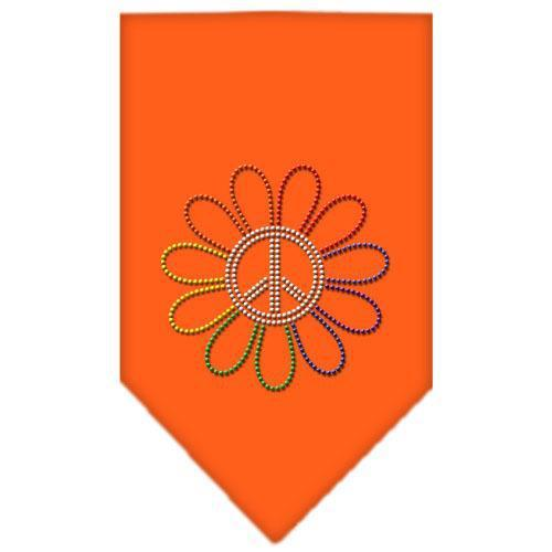 Rainbow Peace Flower Rhinestone Bandana Orange Large-Bandanas-Bella's PetStor