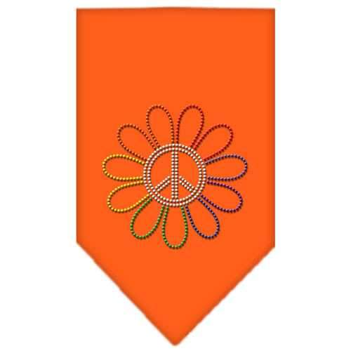 Rainbow Peace Flower Rhinestone Bandana Orange Small-Bandanas-Bella's PetStor