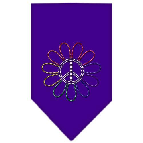 Rainbow Peace Flower Rhinestone Bandana Purple Small-Bandanas-Bella's PetStor