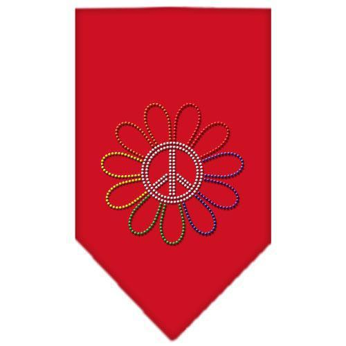 Rainbow Peace Flower Rhinestone Bandana Red Small-Bandanas-Bella's PetStor