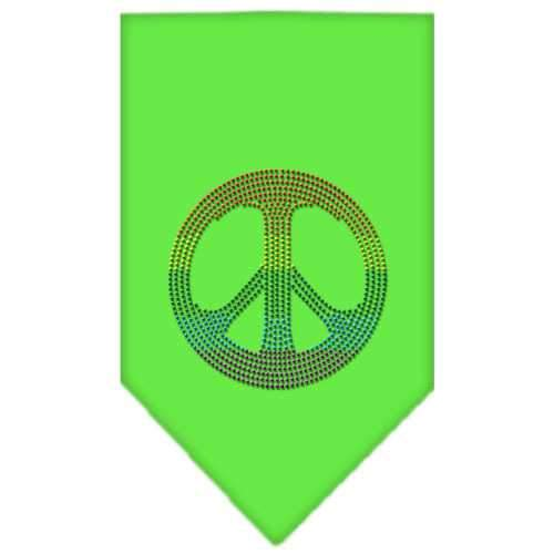 Rainbow Peace Sign Rhinestone Bandana Lime Green Large-Bandanas-Bella's PetStor