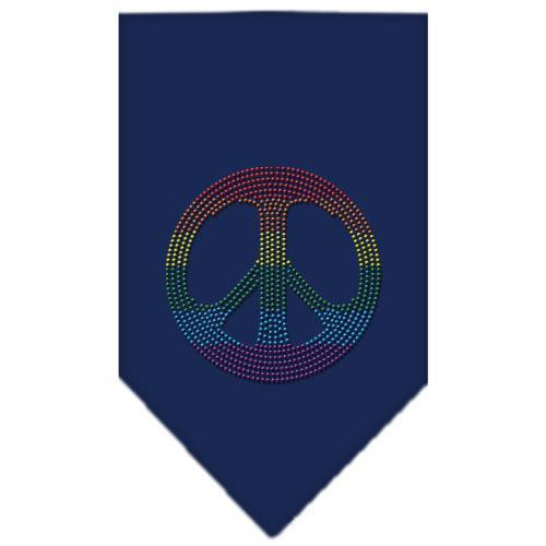Rainbow Peace Sign Rhinestone Bandana Navy Blue large-Bandanas-Bella's PetStor