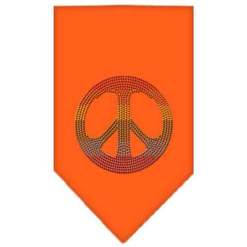 Rainbow Peace Sign Rhinestone Bandana Orange Small-Bandanas-Bella's PetStor
