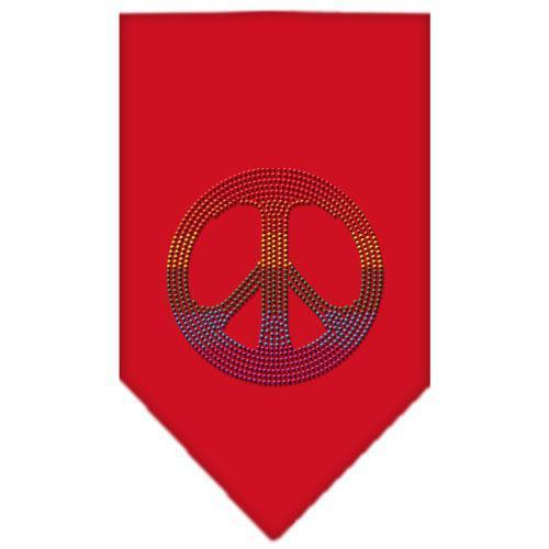 Rainbow Peace Sign Rhinestone Bandana Red Large-Bandanas-Bella's PetStor