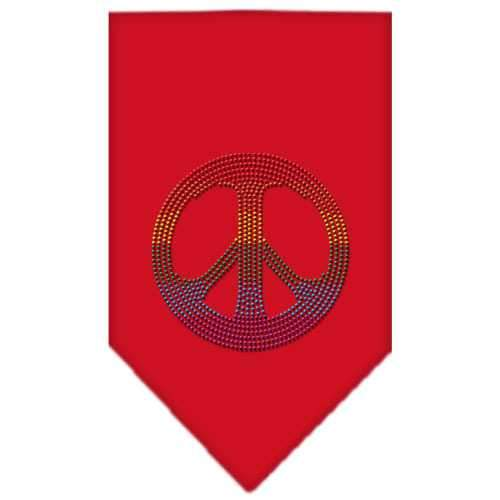 Rainbow Peace Sign Rhinestone Bandana Red Small-Bandanas-Bella's PetStor