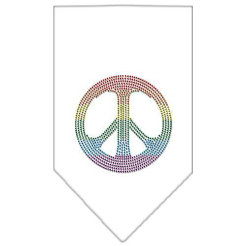 Rainbow Peace Sign Rhinestone Bandana White Small-Bandanas-Bella's PetStor
