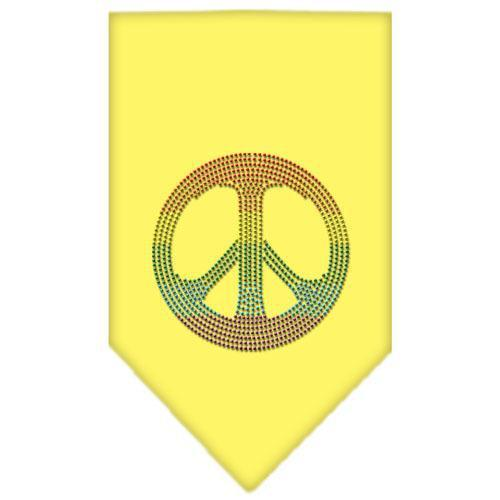 Rainbow Peace Sign Rhinestone Bandana Yellow Small-Bandanas-Bella's PetStor