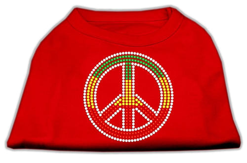 Rasta Peace Sign Shirts Red-Dog Clothing-Bella's PetStor