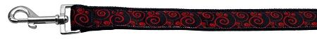 Red And Black Swirly Nylon Dog Leash Inch Wide Long-DOGS-Bella's PetStor