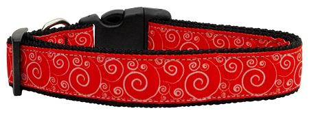 Red And White Swirly Nylon Ribbon Dog Collars-Dog Collars-Bella's PetStor