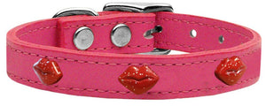 Red Glitter Lips Widget Genuine Leather Dog Collar Red-New!-Bella's PetStor