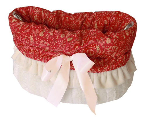 Red Holiday Whimsy Reversible Snuggle Bugs Pet Bed, Bag, And Car Seat All-in-one-Christmas, Hannukah-Bella's PetStor