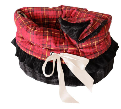 Red Plaid Reversible Snuggle Bugs Pet Bed, Bag, And Car Seat All-in-one-Christmas, Hannukah-Bella's PetStor