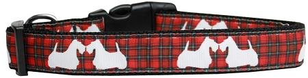 Red Plaid Scottie Pups Nylon Dog Collar-Christmas, Hannakuh-Bella's PetStor