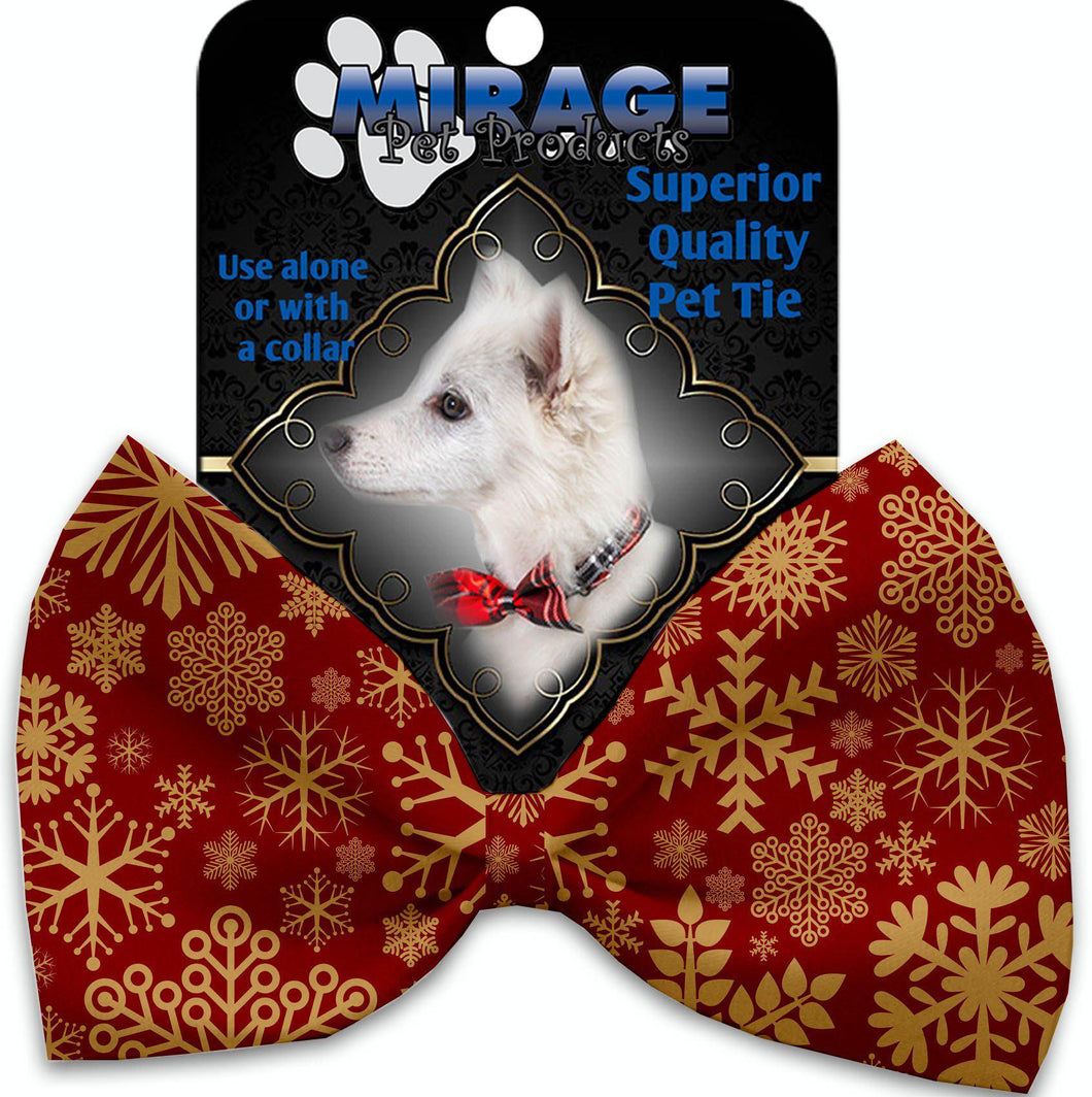 Red Snowflakes Pet Bow Tie Collar Accessory With Velcro-Bow Ties-Bella's PetStor